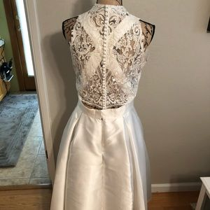 Jovani Dresses - Custom Tea Length Wedding Dress With Lace Bolero
